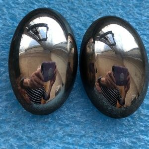 Large vintage silver plated Givenchy clip earrings